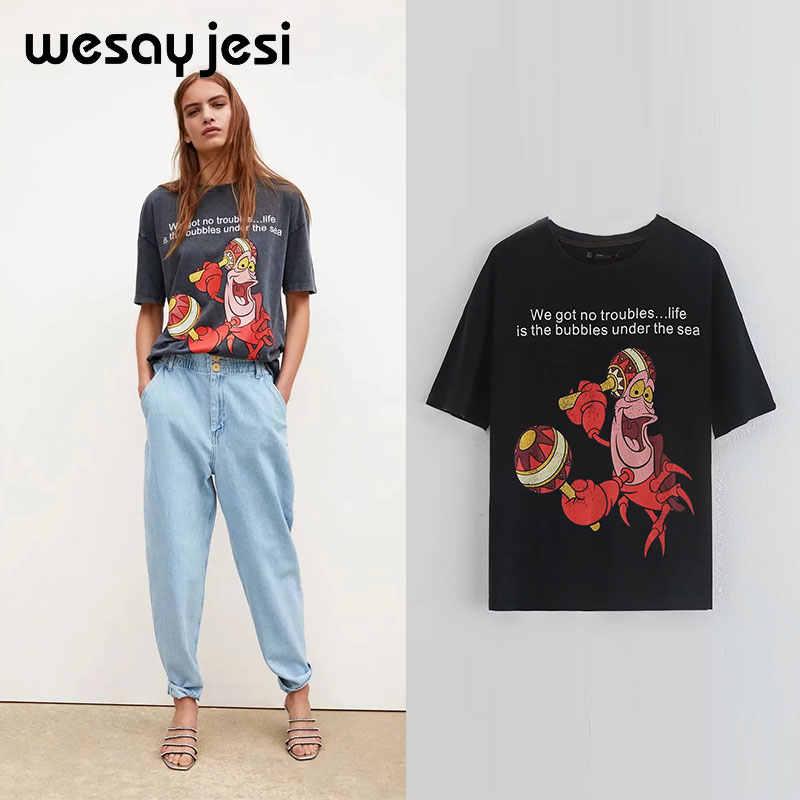 2019 di modo di estate della maglietta delle donne di harajuku coreano vestiti streetwear della ragazza del fumetto della stampa 100% cotone o-collo parti superiori della maglietta più il formato