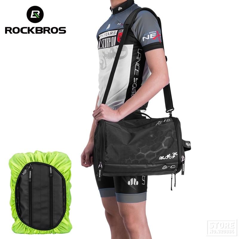 ROCKBROS Triathlon Bags Gym Bag Training Bags Waterproof Fitness Outdoor Sport Bag Big Capacity Backpack With Rain Cover