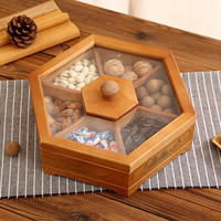 Nature bamboo glass transparent wood cover dry fruit food storage box polygon hotel supplies props snack candy nut boxes