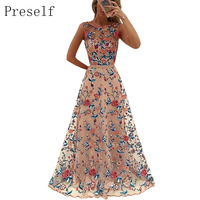 Preself Women Dress Sexy Elegant Floral Embroidered Formal Party Evening Dress Prom Wedding Gown