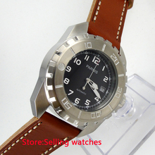 45mm parnis black dial date 21 Jewels miyota automatic movement mens watch