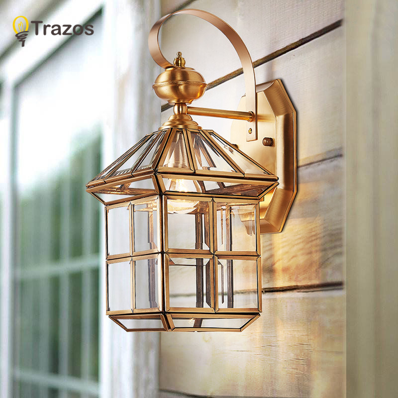 Full copper wall lamp European style retro garden lamp waterproof balcony wall light Corridor Courtyard Lamp 2016 new european style full copper wall lamp hallway balcony corridor lighting