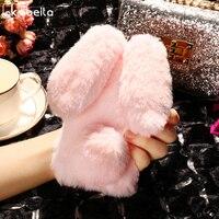AKABEILA Luxury Rabbit Fur Case For Huawei Nova 2 Case Silicon Soft TPU Warm Bling Cases
