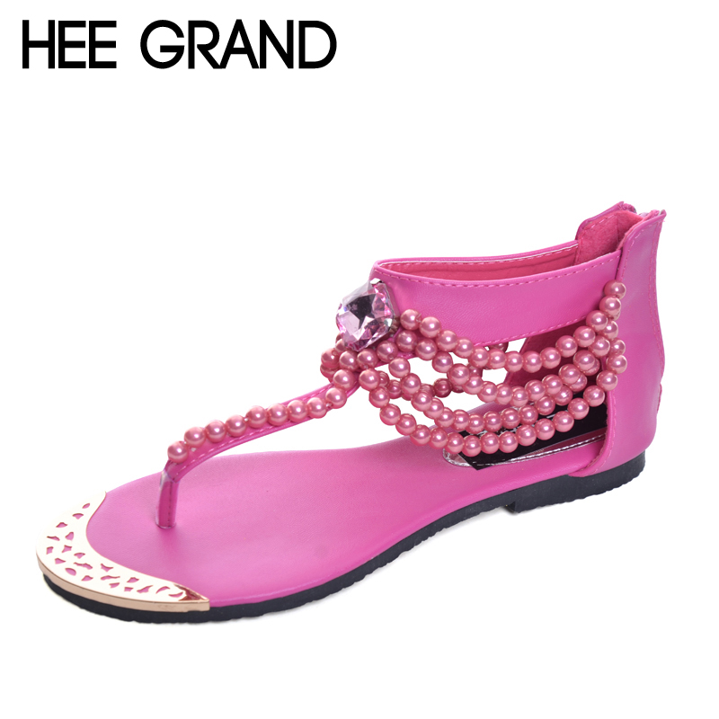 HEE GRAND Bling Beading Sandals T Strap Flip Flops Summer Style Flats Shoes Woman Rhinestone Pearl