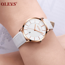 Olevs Повседневное Лидирующий бренд наручные часы для Для женщин ультратонкие элегантные женские часы моды Водонепроницаемый кожа женские часы подарки l5869p