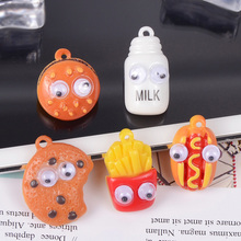 10pcs Cartoon French Fries Hamburger Resin Charms Pendants Food DIY Decoration Bracelets Earring Key Chain Jewelry Making YZ350