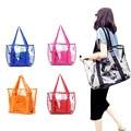 Fashion Women Jelly Candy Clear Transparent Handbag Tote Shoulder Bags Beach Bag Popular