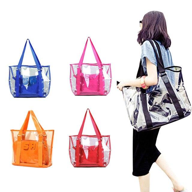 Fashion Women Jelly Candy Clear Transpa Handbag Tote Shoulder Bags Beach Bag Por