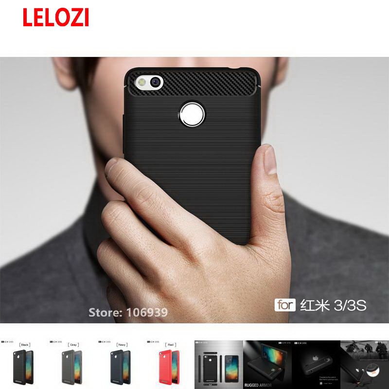 LELOZI Soft TPU Back Armor Rugged Carbon Fiber Brushed Men Phone Coque Etui Case For Xiaomi Redmi Red Mi 3s Redmi3s Best New