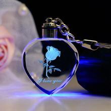 Модный брелок для ключей в виде розового сердца для салона автомобиля, мигающий светодиодный брелок для пары