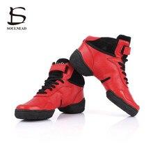 fc048fb56b Dança Salsa Sapatos para Mulheres Homens Das Sapatilhas Sapatos de Couro  Genuíno Modernos sapatos de Dança Jazz Homens Sapatilha.