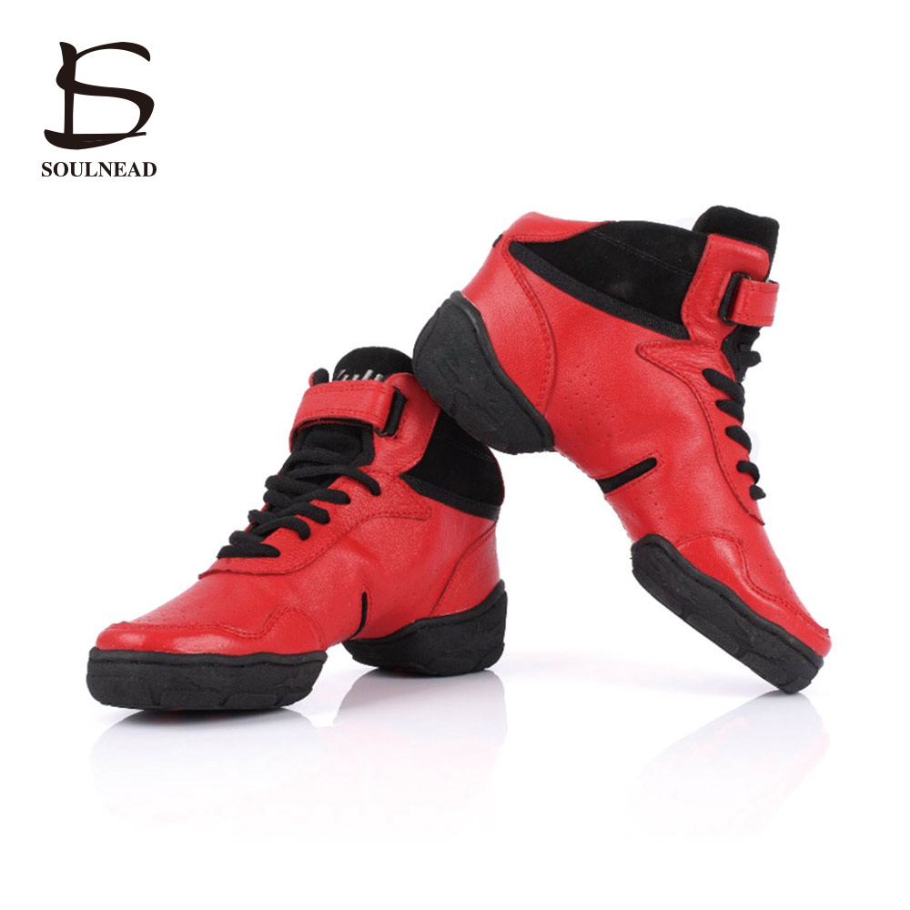 Cowhide Dancing Shoes for Women/Men Sneakers Dance Shoes Genuine Leather Modern Jazz Men Leather Sneakers Women Plus size 27.5cm
