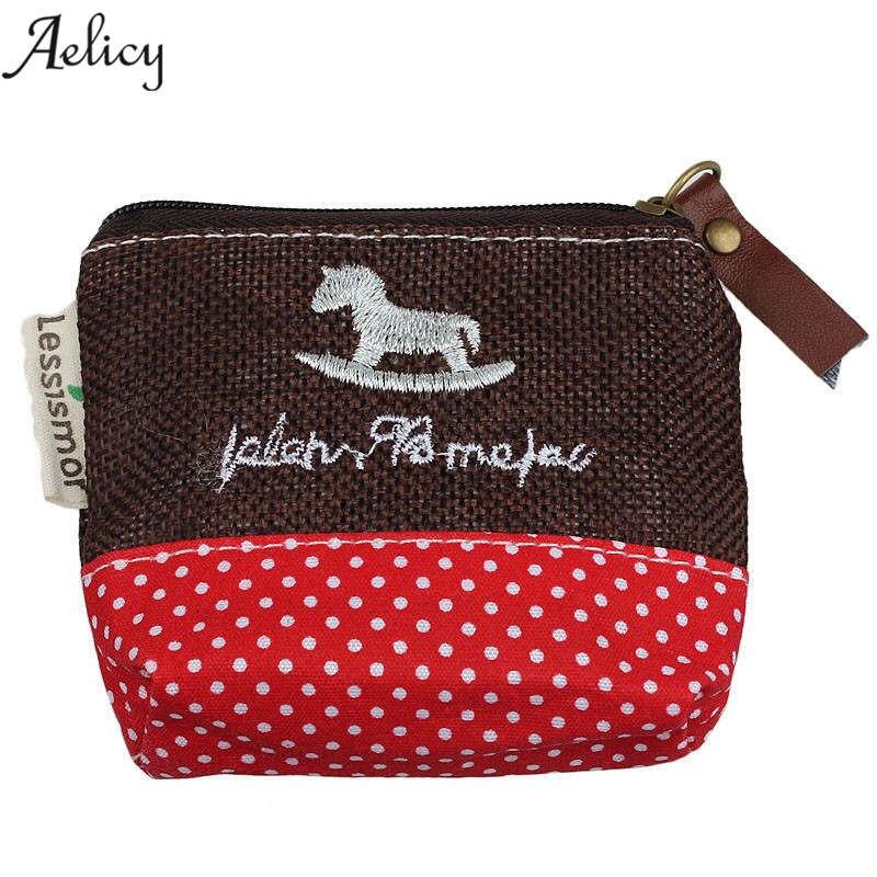 Aelicy Fashion Cute Canvas Coin Bag Lovely Girls Holder Purse Small Zipper Wallet Card Purse Zip Key Case Money Clip Carteira