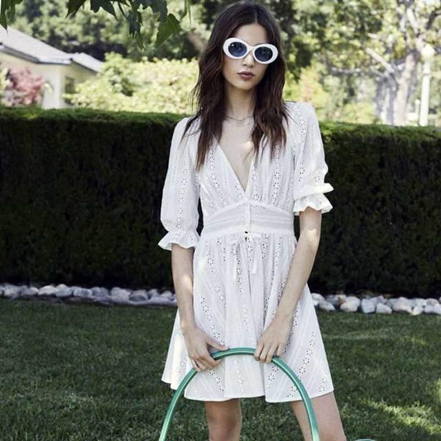 848a9414e BOHO INSPIRED Puff Sleve Summer Eyelet Dress white embroidered mini dresses  elegant V-neck women