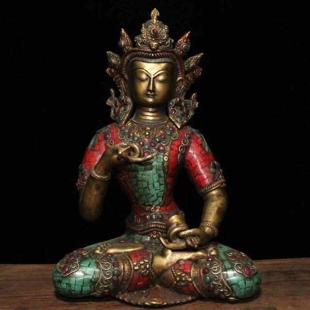 christmas Tibet Buddhism Bronze Inlay turquoise Gem Vajrasattva Bodhisattva Buddha Statue halloween