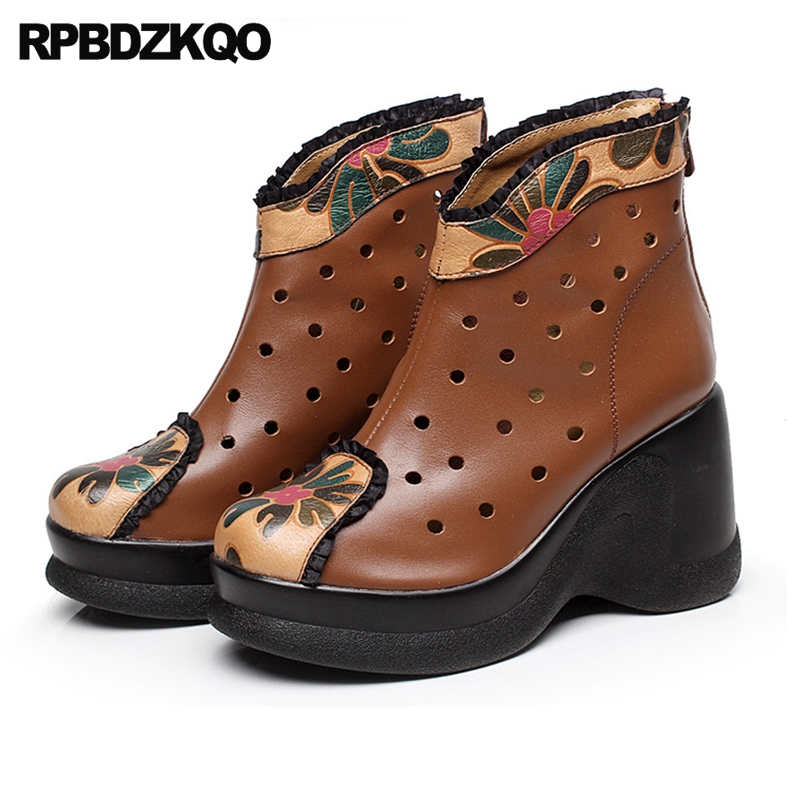 Retro Cut Out Fall Women Ankle Boots 2016 Round Toe Flower Printed Vintage Platform Black Wedge High Heel Autumn Booties Floral