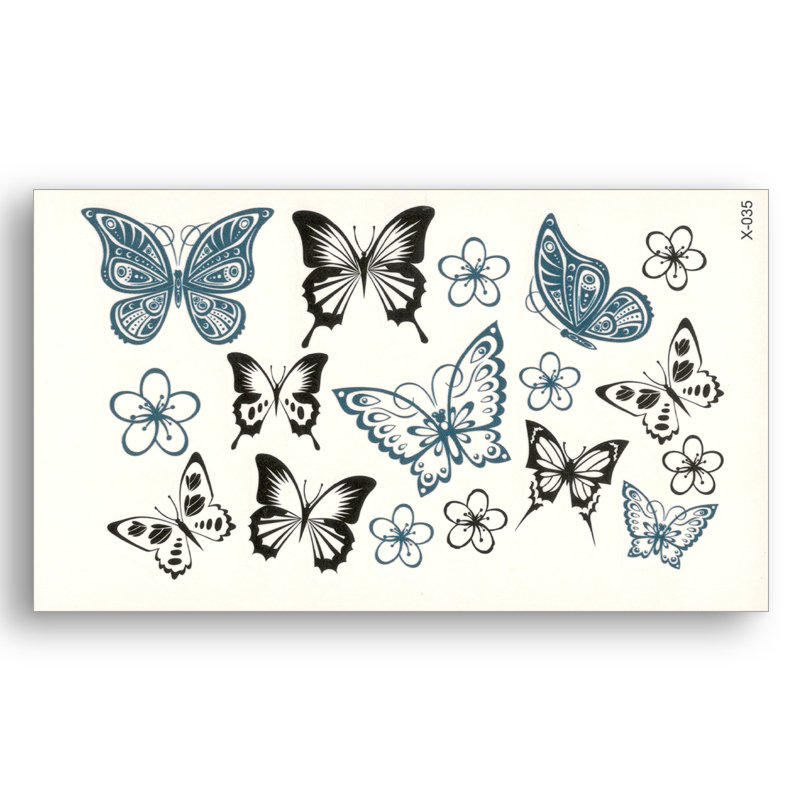 Fake Temporary Tattoo Water Transfer Blue Black Flower Butterfly Sticker Men Women Beauty Sexy Body Art Live Of Song X035