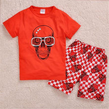 2019 Homewear Pajamas Cartoon Red Skull Cotton Baby Girl Boy Cool T-shirt Shorts Kids Clothing Summer Children Sets