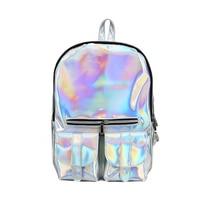 new Holographic backpack laser hologram bag mochila feminina silver backpack zaino 2018 New Fashion Men/Women Backpack 3 colour