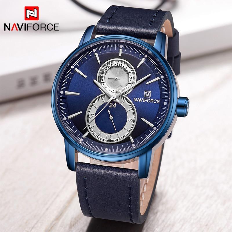 цена на New NAVIFORCE Classic Blue Fashion Men Watches Mens Casual Quartz Wrist watch Genuine Leather Strap 30M Waterproof Analog Clock