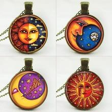 Galaxy Glass Cabochon Chain Necklace & Pendant Milky Way Galaxy Nebula Space Antique Silver Sun God Pendant Necklace
