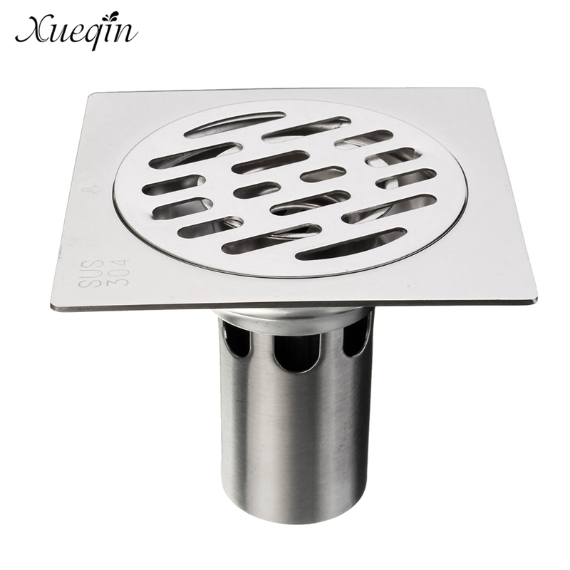 ФОТО Xueqin Free Shipping 95mm x 95mm Square Stainless Steel Floor Drain Bathroom Toilet Washing Room Waste Drain Cover