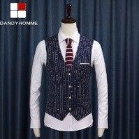Free Shipping 2015 Deep Blue Men V-Neck High Quality Casual Retro Wedding Groom Business Suits Vests Summer Man Blazer Vest