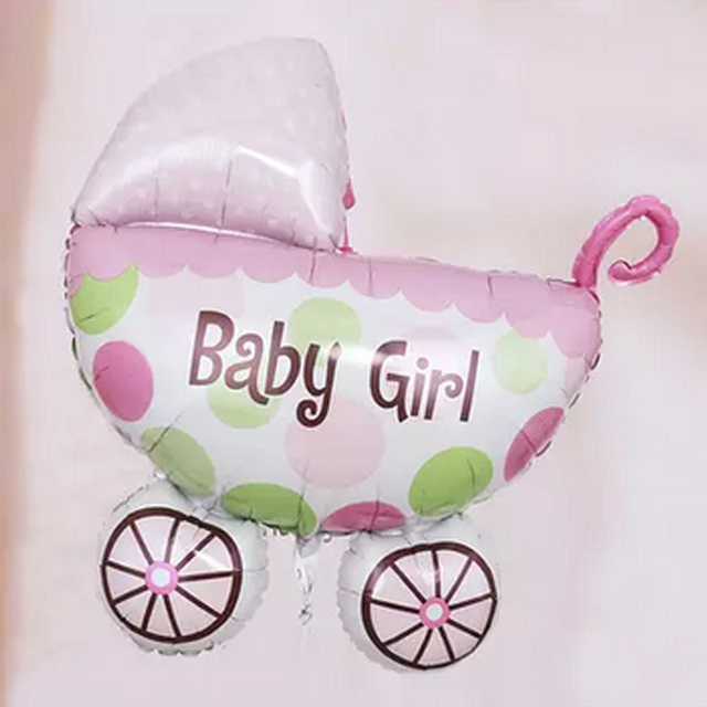 100x80cm Foil Baby Balloon Girls Boys Kids Toys Carriage Shaped 1st Birthday Decorations Supplies