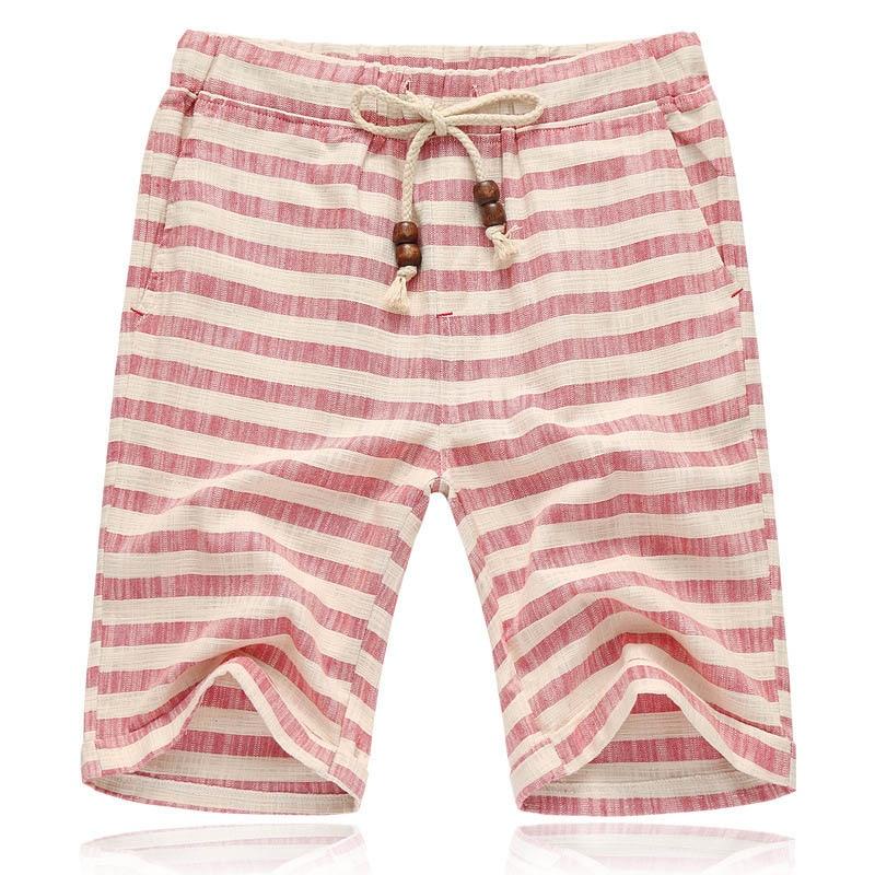 zaitun summer linen men shorts striped pattern drawsting