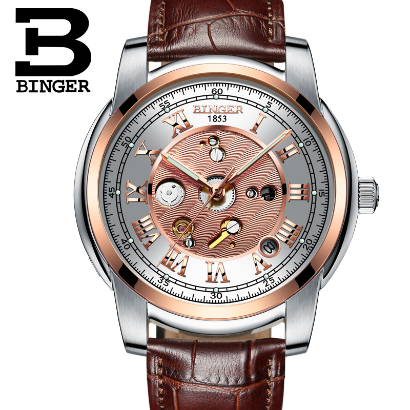Switzerland Watches men BINGER Mechanical Wristwatches waterproof full gold leather strap 1 year guarantee Wristwatches B1159G-8