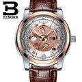 Switzerland Watches men BINGER Mechanical Wristwatches waterproof full gold leather strap 1 year guarantee Wristwatches B1159G 8 wristwatch waterproof wristwatch goldwristwatch mens -