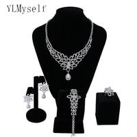 2019 new bridal wedding jewelry sets Necklace+Bracelet+earrings+gift ring Beautiful big luxury jewellery 4pcs set