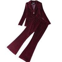 new Pants suit Velvet women business suits 2 piece blazer set female trouser suits Ladies Pant Suits