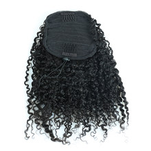 3B 3C Kinky Curly Hair Ponytail Extensions Clip Ins Brazilian Remy Hair 100% Human Hair Ponytail VENVEE(China)