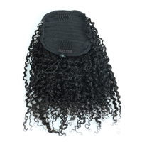 3B 3C Kinky Curly Hair Ponytail Extensions Clip Ins Brazilian Remy Hair 100% Human Hair Ponytail VENVEE