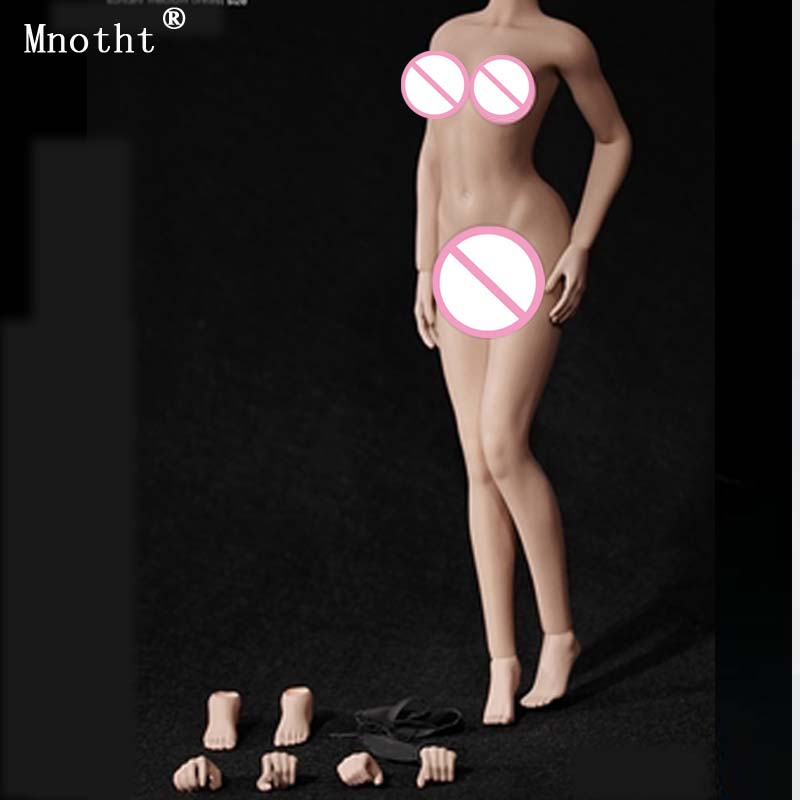 Mnotht 1/6 Steel Bone Medium Chest Narrow Shoulders Female Soldier Vegetarian Nude Body S16A S17B Toy Action Figure Gift M6n