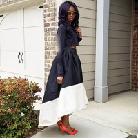 High Low Mix Color Satin Skirts Women Black And White Female Long Skirt Maxi Skirts Zipper