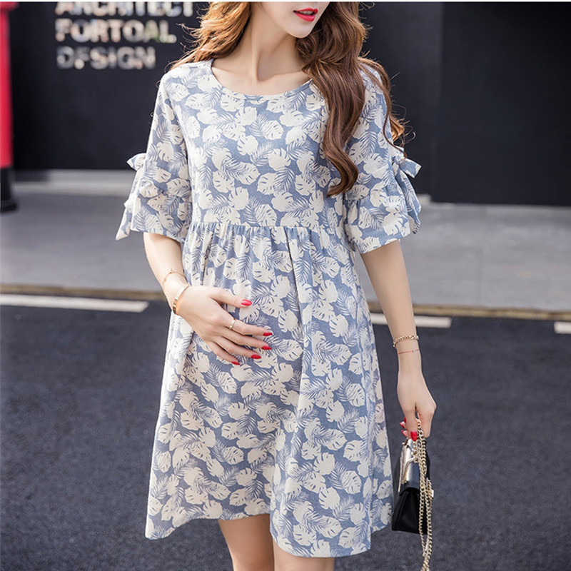 BAHEMAMI2018 spring and summer pregnant women cotton embroidered dress stripes dress