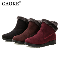 Winter Shoes Woman Ankle Boots Casual Fashion Flats Wedge Boots Women Ladies Warm Fur Suede Snow
