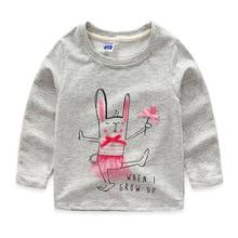 2016 New Next Spring Fall Girls Full Sleeve Kids Tees Cotton Comfortable Cartoon Pretty Children'sClothing Graffiti T-Shirts