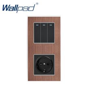 Image 2 - 3 Gang 2 yollu ab soket Wallpad lüks saten Metal Panel basma düğmesi Rocker duvar ışık anahtarı + ab soket 110V 250V