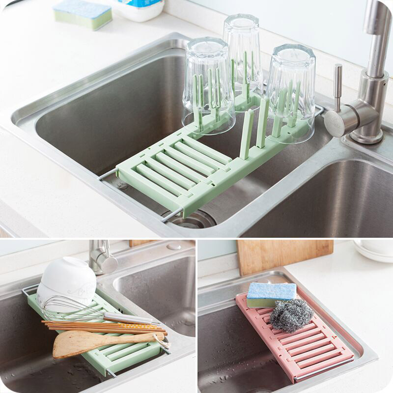 Retractable Draining Rack Sink Cup Holder Kitchen Plastic Vegetable Dishes Storage Tableware Hot Sale