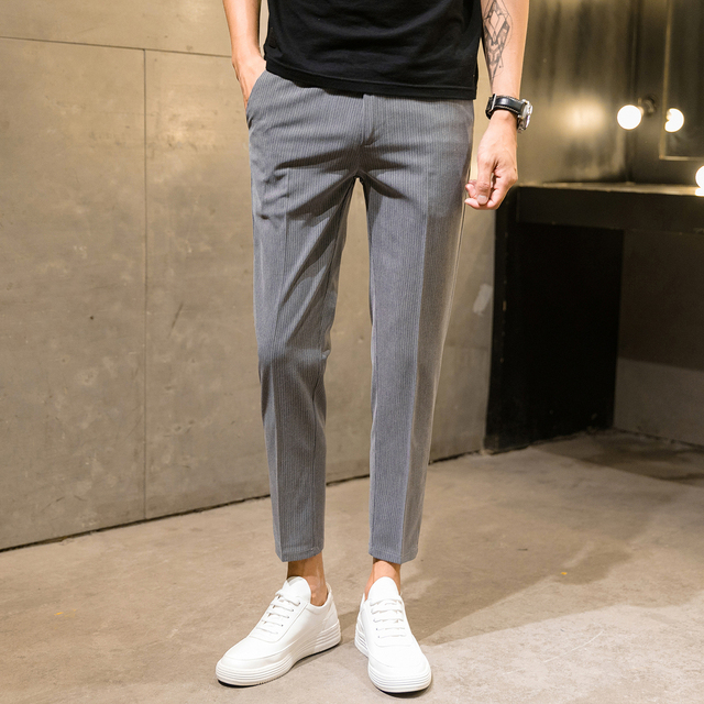 Summer And Autumn New Stripe M 4xl Slim Casual Men S Cropped Pants