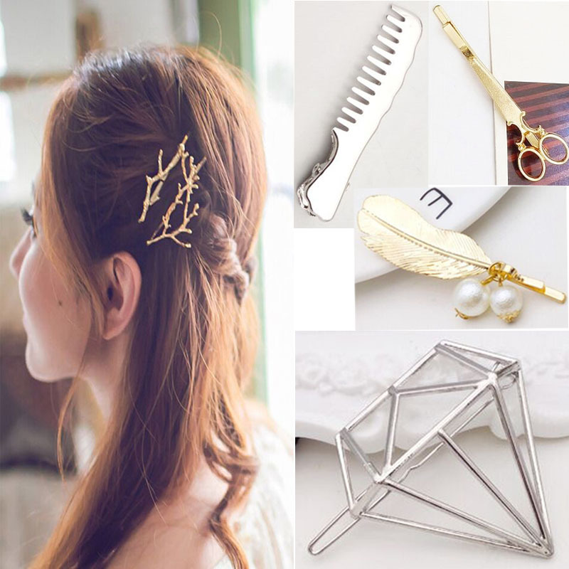 Creative fashion geometry 2pcs / hollow girl princess hairpin alloy clip hair accessories hot wholesale