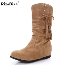 Women Round Toe Flat Half Short Boot Mid Calf Winter Warm Leisure Boot Sexy Fashion Martin Bota Footwear Shoes Size 34-42