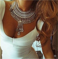 Gypsy Bohemian Beachy Chic Statement Coin Necklace Boho Festival Silver Fringe Bib Ethnic Turkish India Tribal