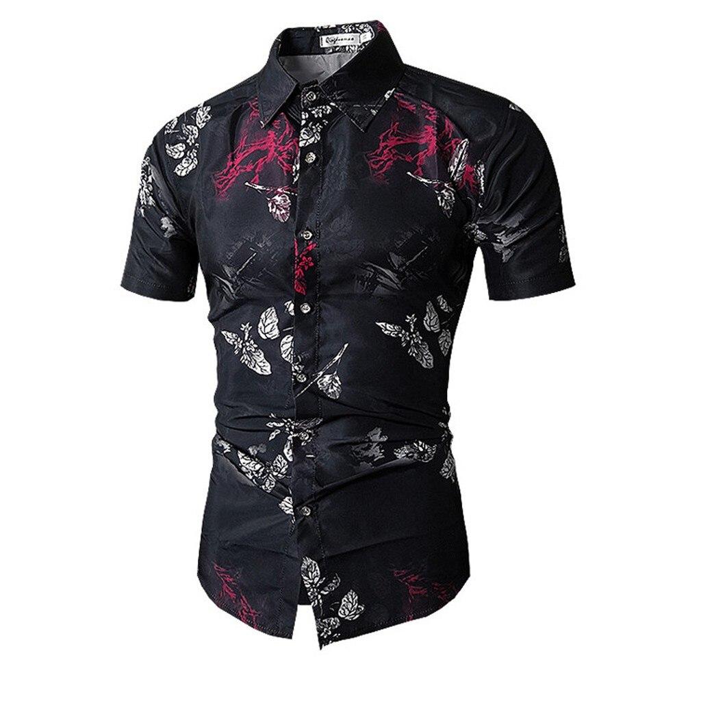 2019 Summer Men Print Turn-Down Collar Slim Fit Short Sleeve Shirt Blouse Hawaiian Camisa Masculina Camisas Hombre Streetwear