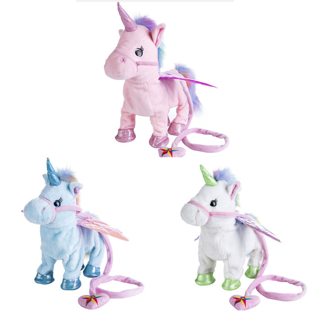 Hot Toys 1pc Electric Walking Unicorn Plush Toy Stuffed Animal Toy Electronic Music Unicorn Toy for Children Christmas Gifts цена