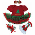 Baby Girl's Christmas Newborn Clothing Set Infant Minnie Gift Tutu Romper Dress 4pcs Children Kids Clothes Set 2017 Xmas Costume