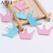 20PCS Baby Favor Baby Shower Ornaments Blue Pink Glitter Crown Patch Stick On Fabric Felt Pads DIY Scrapbook Cards Decors(China)